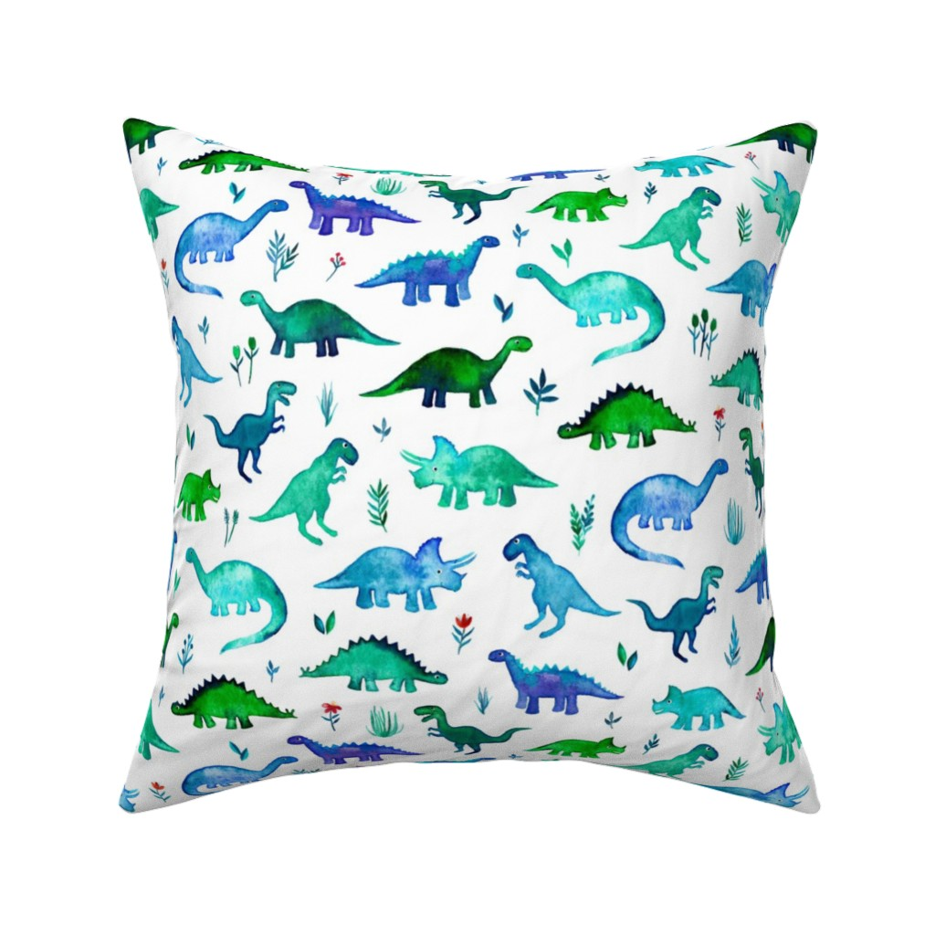 Catalan Throw Pillow featuring Tiny Dinos in Blue and Green on White Large Print by micklyn