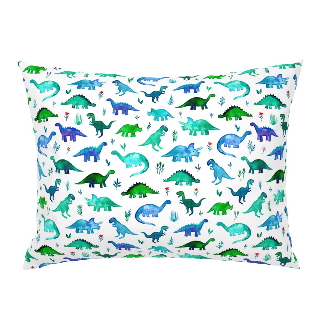 Campine Pillow Sham featuring Tiny Dinos in Blue and Green on White Large Print by micklyn