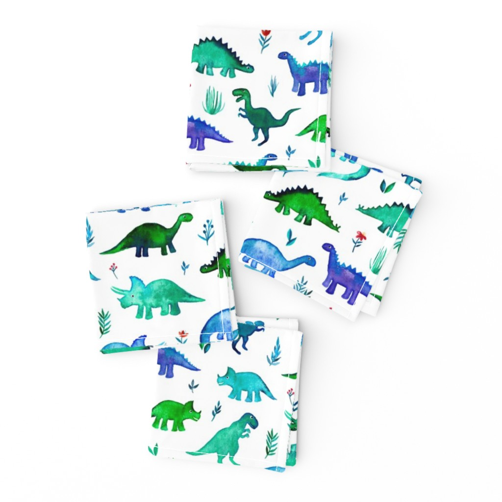 Frizzle Cocktail Napkins featuring Tiny Dinos in Blue and Green on White Large Print by micklyn