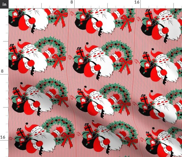 Christmas Candy.Fabric By The Yard Santa Claus Merry Christmas Candy Canes Sweets Gifts Presents Dolls Toys Drums Balls Mistletoe Wreaths Ribbons Stripes Bows Vintage