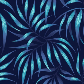 Palm Leaf - Navy