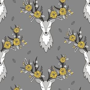 Deer Head on Dark Grey Yellow Flowers