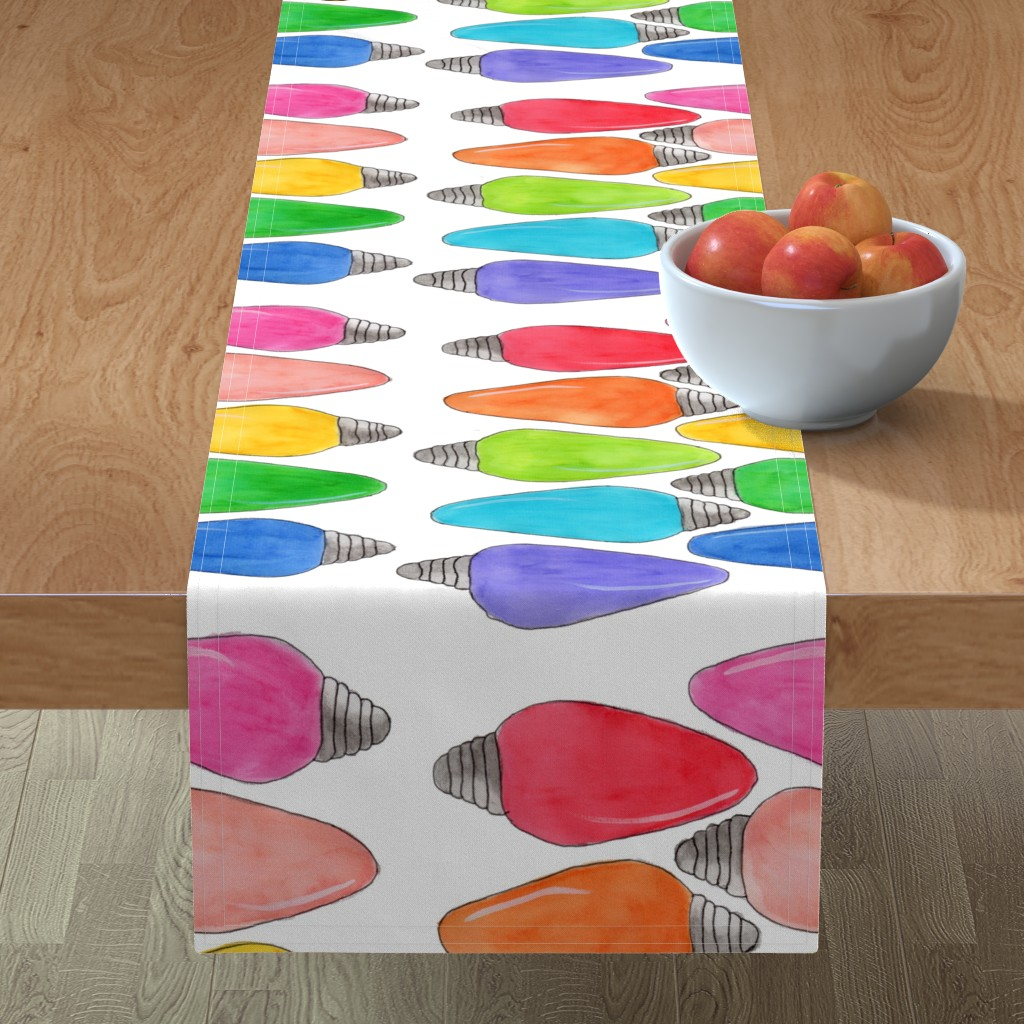 Minorca Table Runner featuring Color Bulbs by designergal