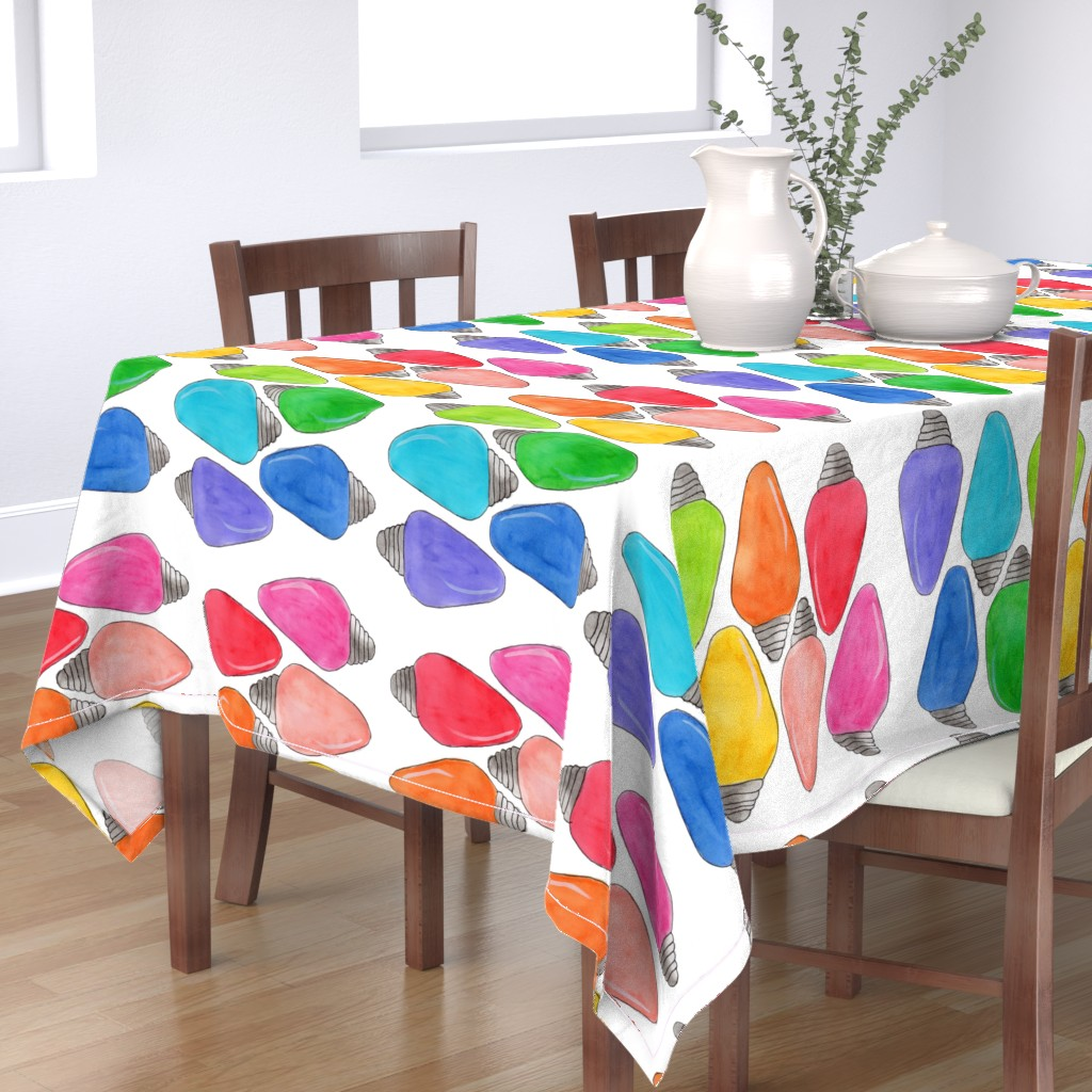 Bantam Rectangular Tablecloth featuring Color Bulbs by designergal