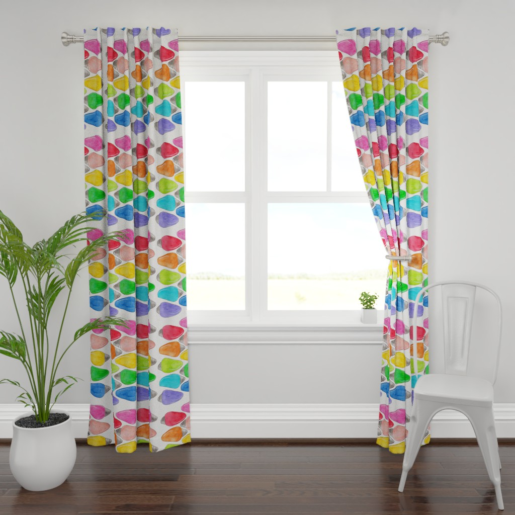 Plymouth Curtain Panel featuring Color Bulbs by designergal