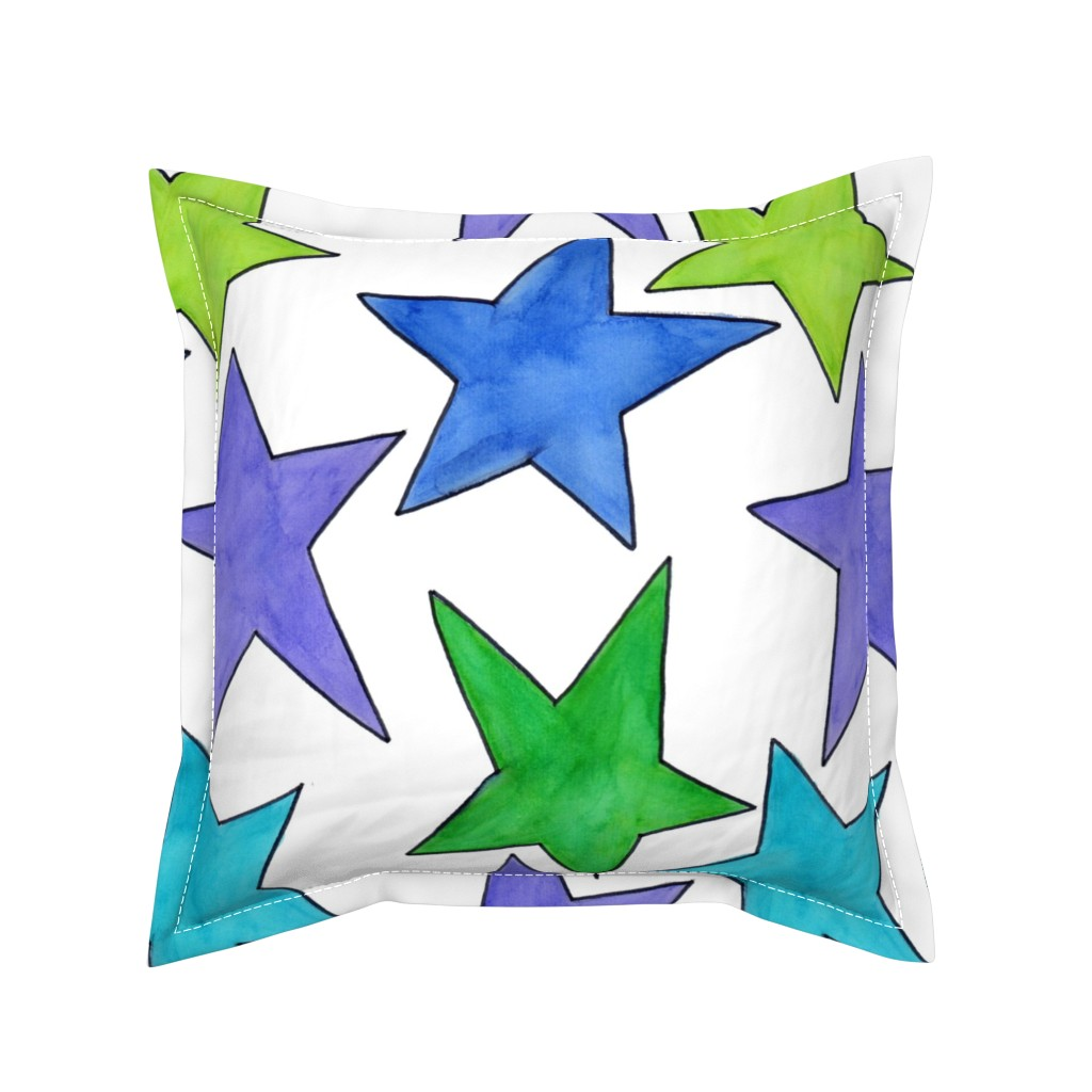 Serama Throw Pillow featuring Color Stars by designergal