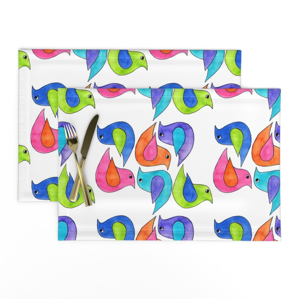 Lamona Cloth Placemats featuring Colorful Birds by designergal