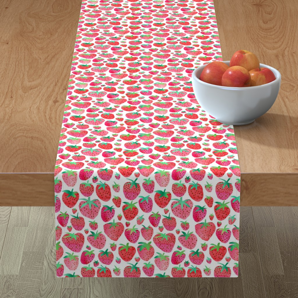 Minorca Table Runner featuring Watercolour Strawberries by emeryallardsmith
