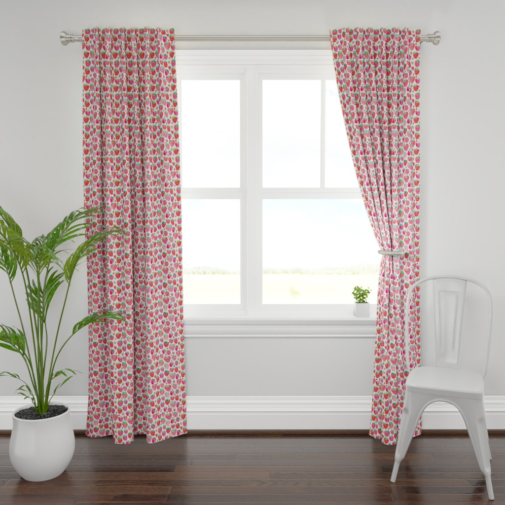 Plymouth Curtain Panel featuring Watercolour Strawberries by emeryallardsmith