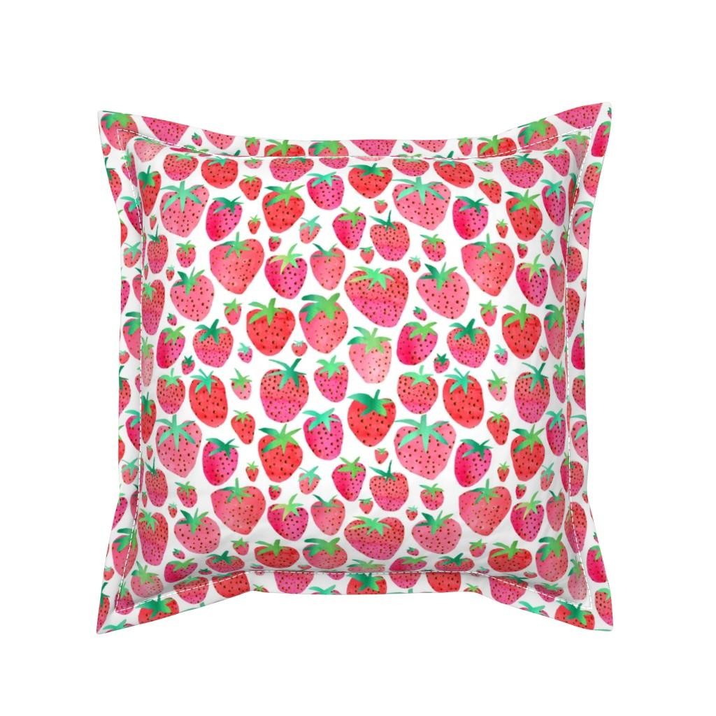 Serama Throw Pillow featuring Watercolour Strawberries by emeryallardsmith
