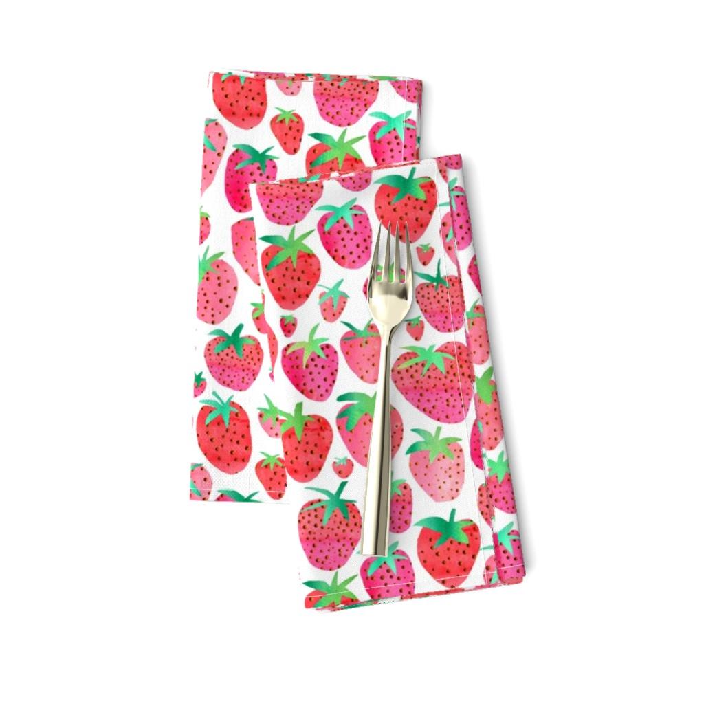 Amarela Dinner Napkins featuring Watercolour Strawberries by emeryallardsmith