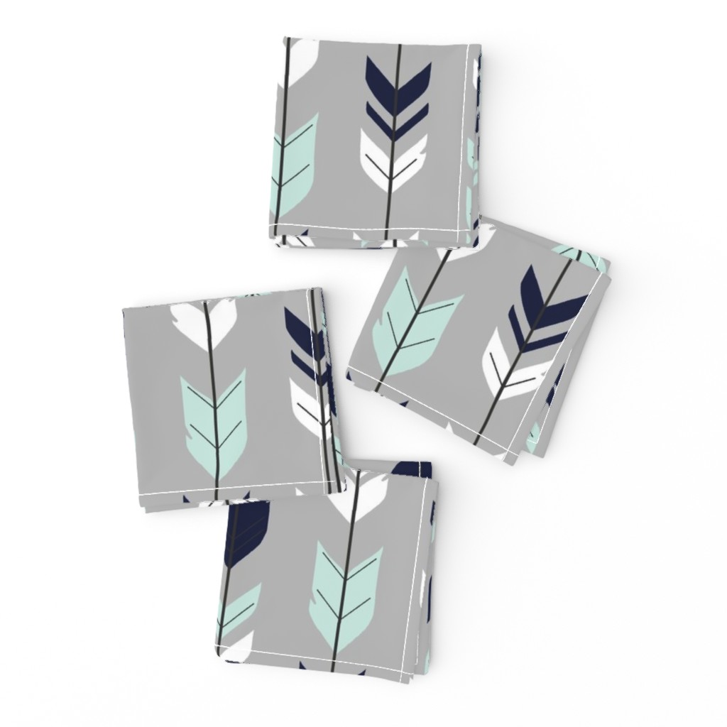 Frizzle Cocktail Napkins featuring Arrow Feather - Evenstar - gray, navy, mint, white by sugarpinedesign