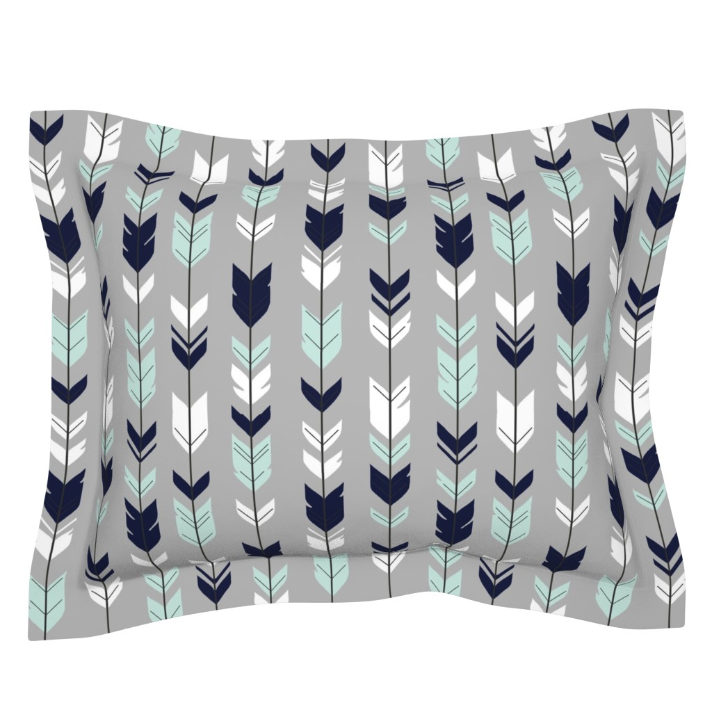Sebright Pillow Sham featuring Arrow Feather - Evenstar - gray, navy, mint, white by sugarpinedesign