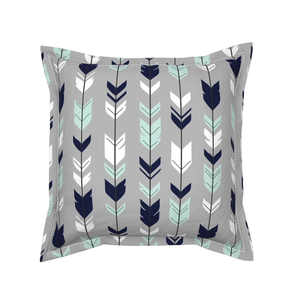 Serama Throw Pillow featuring Arrow Feather - Evenstar - gray, navy, mint, white by sugarpinedesign