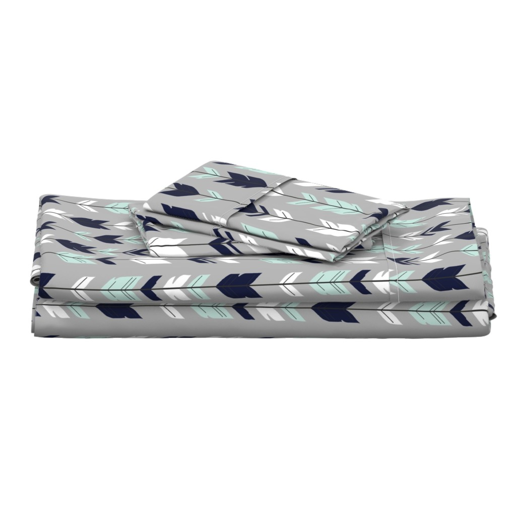Langshan Full Bed Set featuring Arrow Feather - Evenstar - gray, navy, mint, white by sugarpinedesign