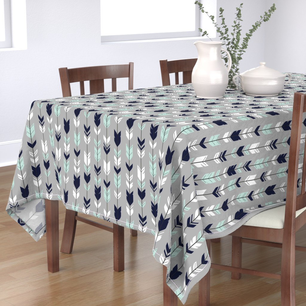 Bantam Rectangular Tablecloth featuring Arrow Feather - Evenstar - gray, navy, mint, white by sugarpinedesign
