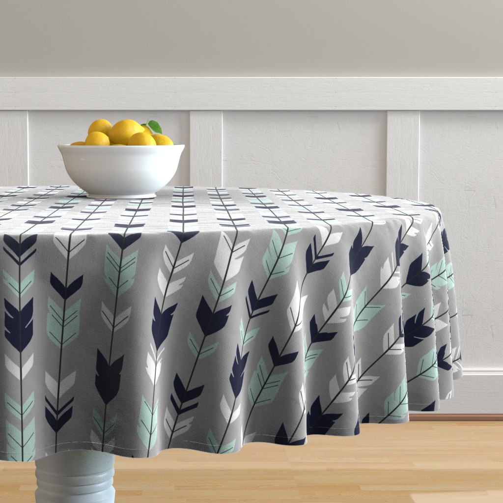 Malay Round Tablecloth featuring Arrow Feather - Evenstar - gray, navy, mint, white by sugarpinedesign