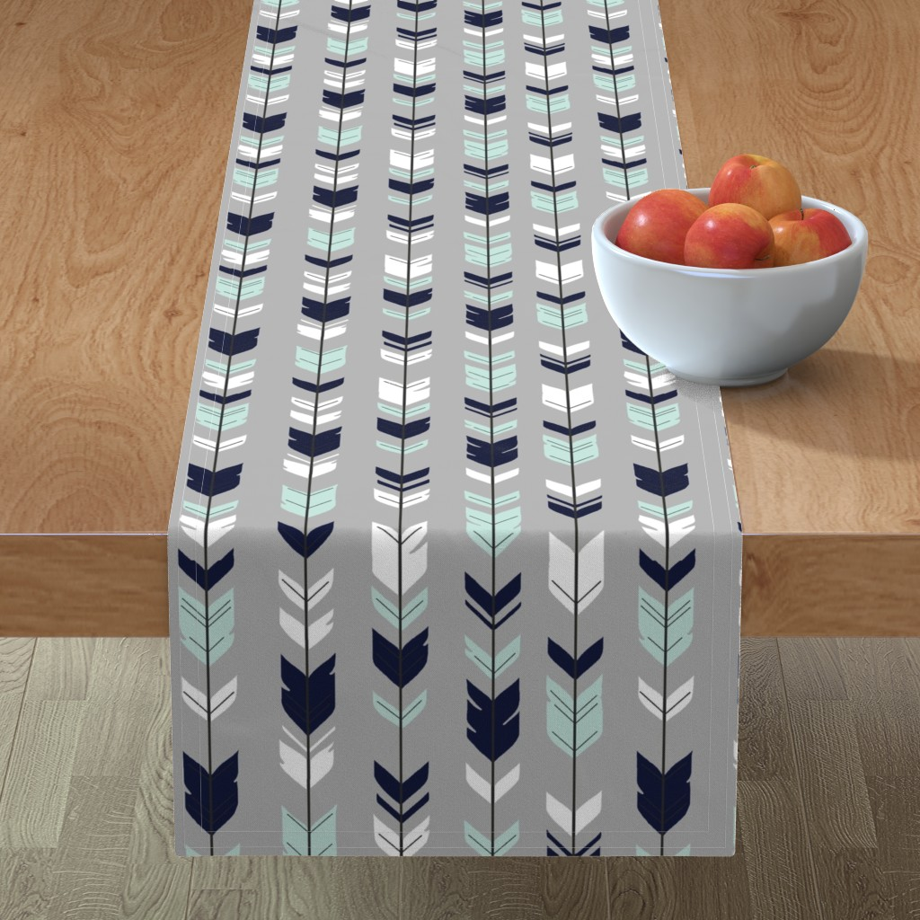Minorca Table Runner featuring Arrow Feather - Evenstar - gray, navy, mint, white by sugarpinedesign