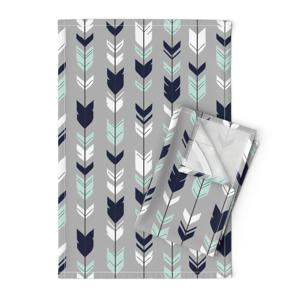 Orpington Tea Towels featuring Arrow Feather - Evenstar - gray, navy, mint, white by sugarpinedesign