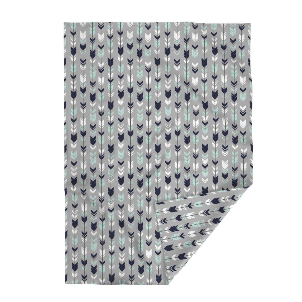 Lakenvelder Throw Blanket featuring Arrow Feather - Evenstar - gray, navy, mint, white by sugarpinedesign