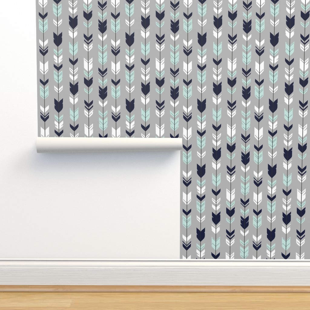 Isobar Durable Wallpaper featuring Arrow Feather - Evenstar - gray, navy, mint, white by sugarpinedesign