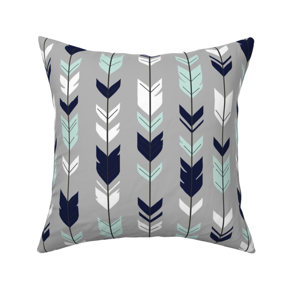 Catalan Throw Pillow featuring Arrow Feather - Evenstar - gray, navy, mint, white by sugarpinedesign
