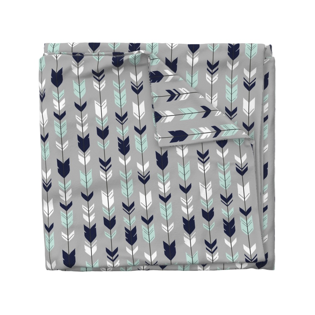 Wyandotte Duvet Cover featuring Arrow Feather - Evenstar - gray, navy, mint, white by sugarpinedesign