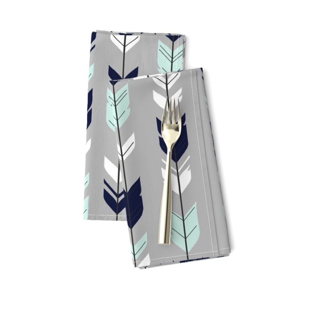 Amarela Dinner Napkins featuring Arrow Feather - Evenstar - gray, navy, mint, white by sugarpinedesign