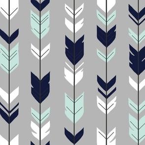 Arrow Feather - Evenstar - gray, navy, mint, white