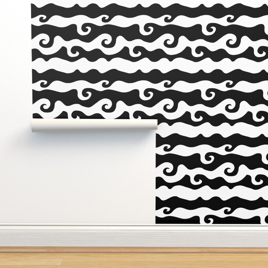 Isobar Durable Wallpaper featuring BW Swirly Wave by designergal