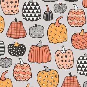 Geometric Pumpkin Fall Halloween in Black&White Orange on light grey
