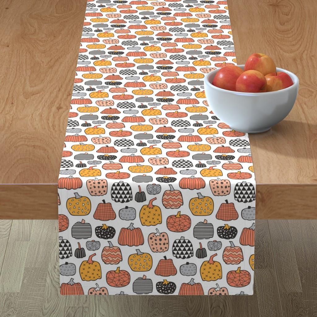 Minorca Table Runner featuring Geometric Pumpkin Fall Halloween in Black&White Orange on White by caja_design