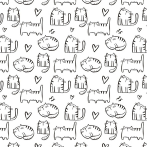 Cute Cats. Hand drawn  print