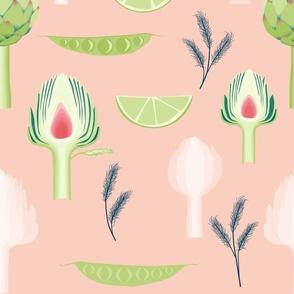 artichoke_and_peas-peach