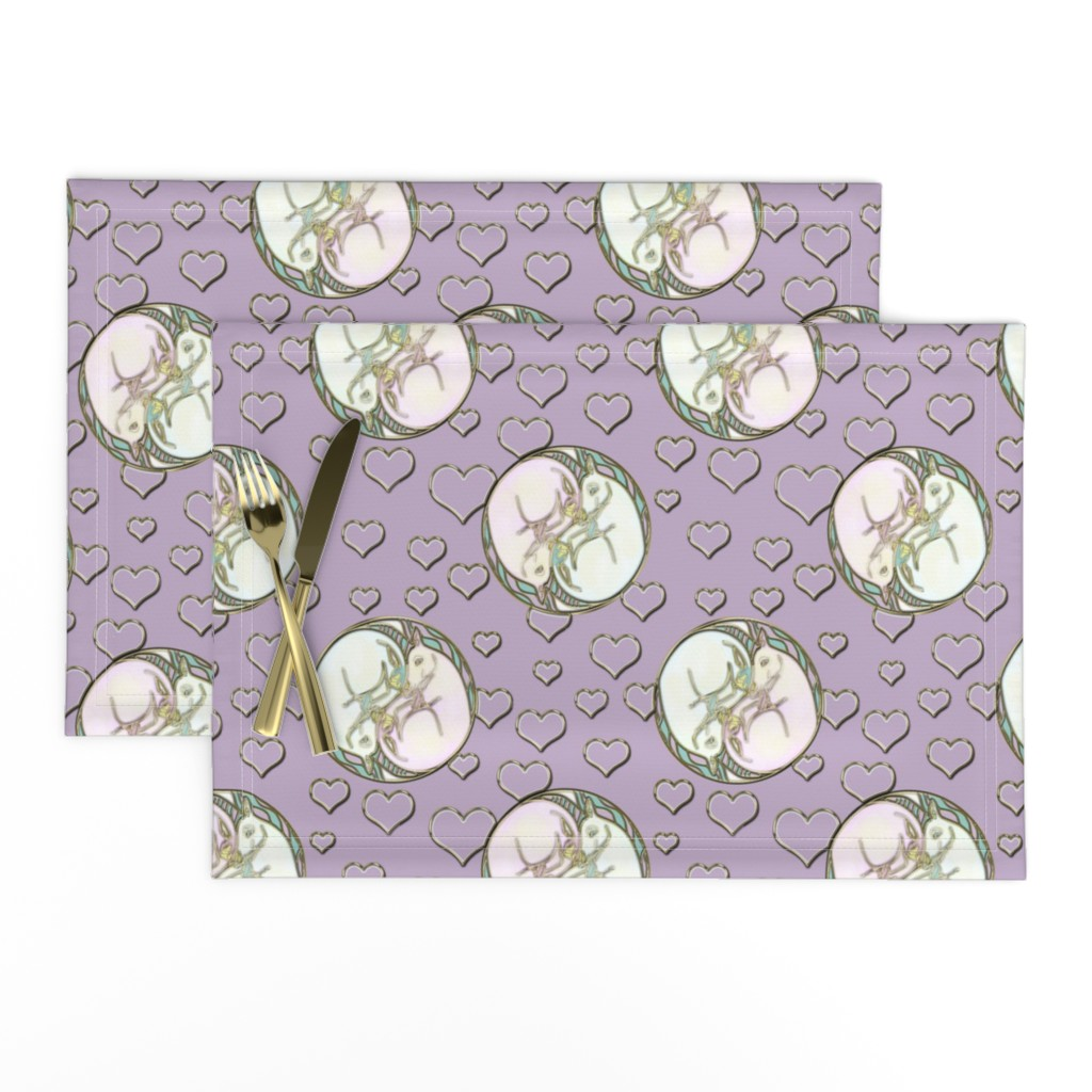 Lamona Cloth Placemats featuring Unicorn Yin Yang with Love Hearts on Purple by eclectic_house