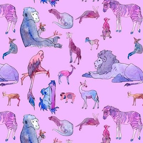 Zoo Animals Pink and Purple
