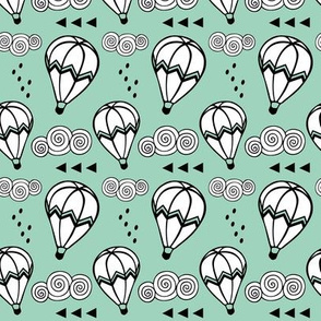 Hot air balloon // Mint background