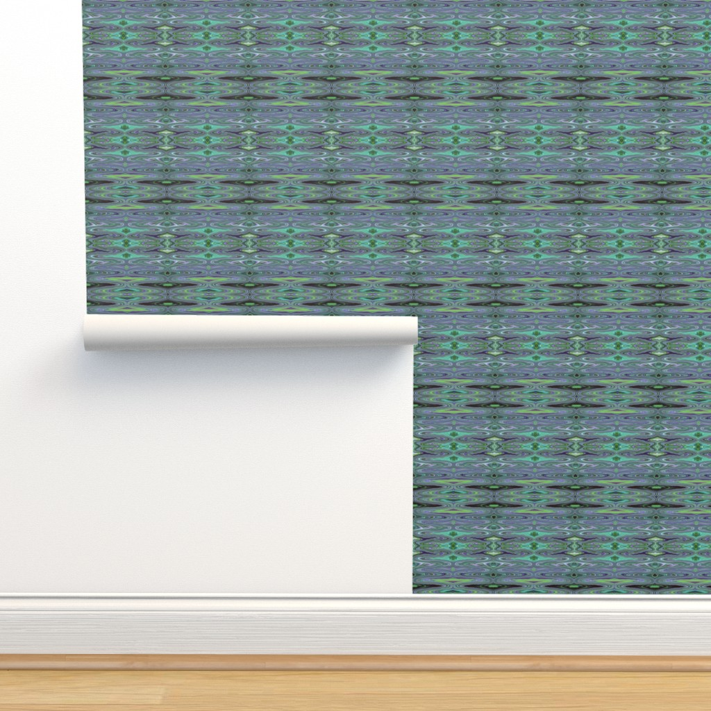 Isobar Durable Wallpaper featuring DSC2 - Small - Dali Dreams in Aqua - Lavender - Purple - Lime Green - Crosswise   by maryyx