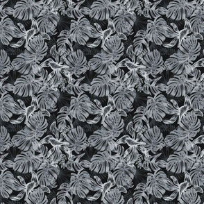 tropical leaves - gray - small