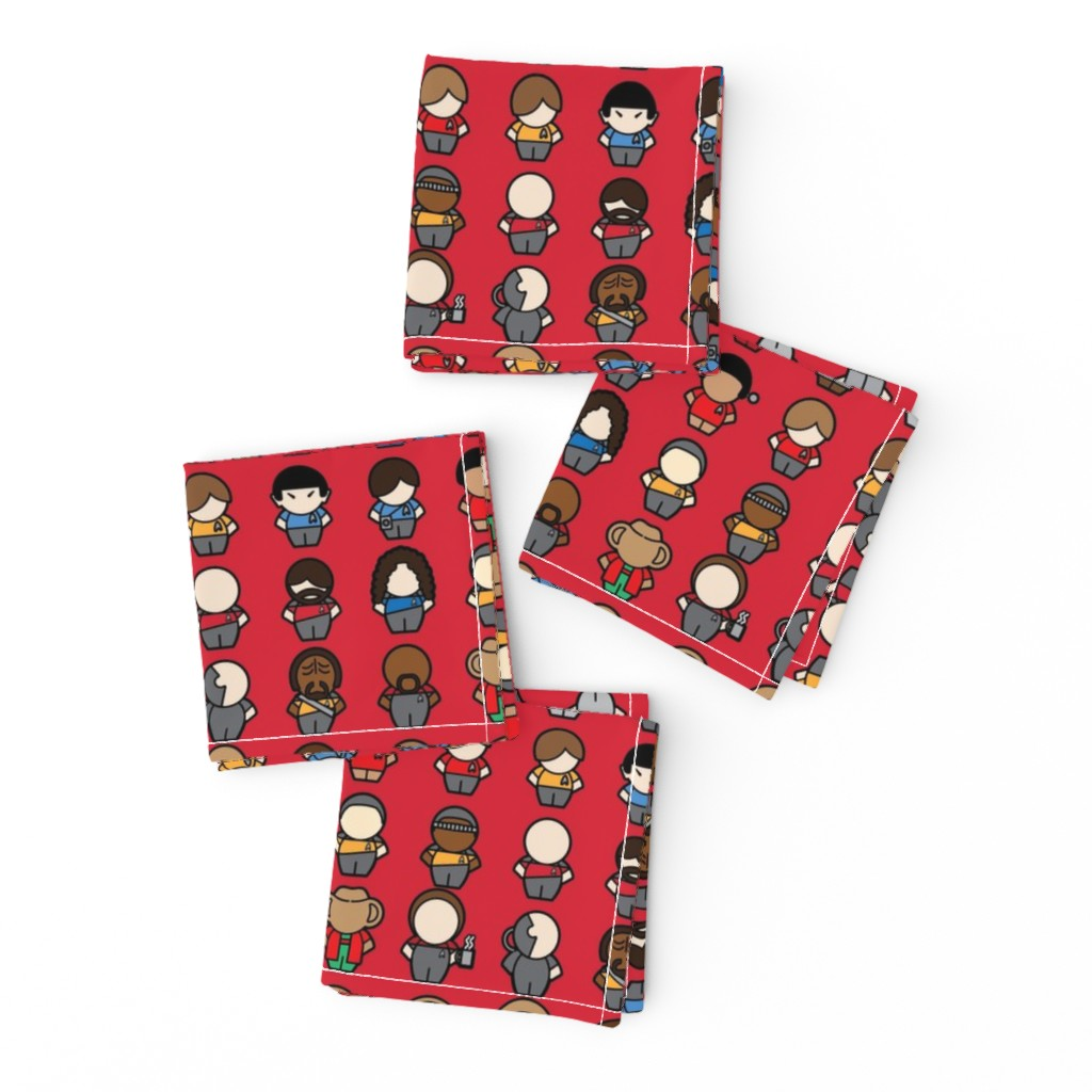 Frizzle Cocktail Napkins featuring To Boldy Go... (red) by studiofibonacci