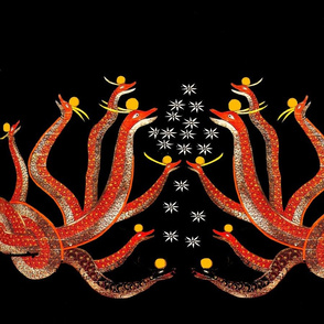 red serpents on black with white flowers and gold orbs
