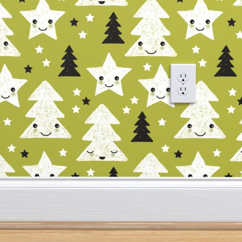 5593659 merry christmas kawaii seasonal christmas trees stars japanese illustration print pastel green by littlesmilemakers