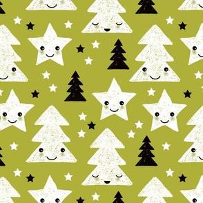 Merry christmas kawaii seasonal christmas trees and stars Japanese illustration print pastel green