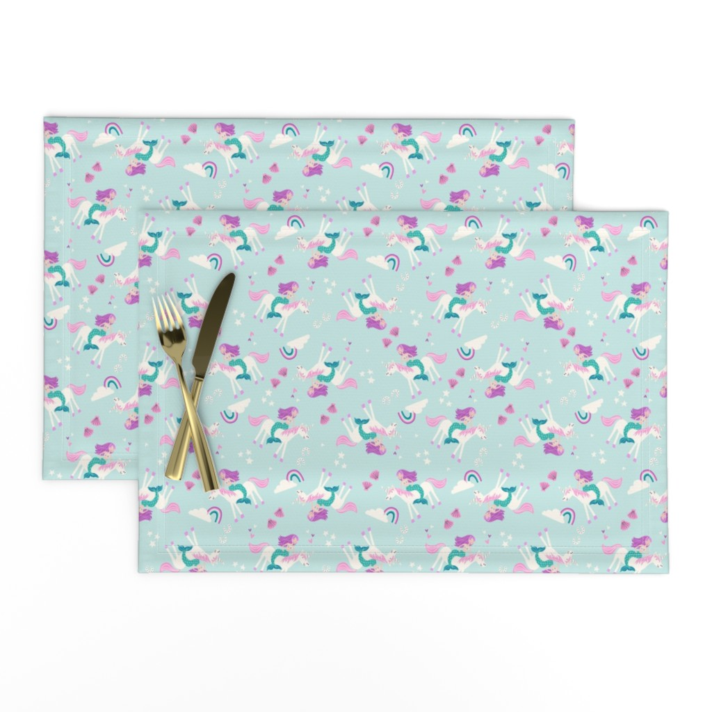 Lamona Cloth Placemats featuring mermaid and unicorn by laura_may_designs