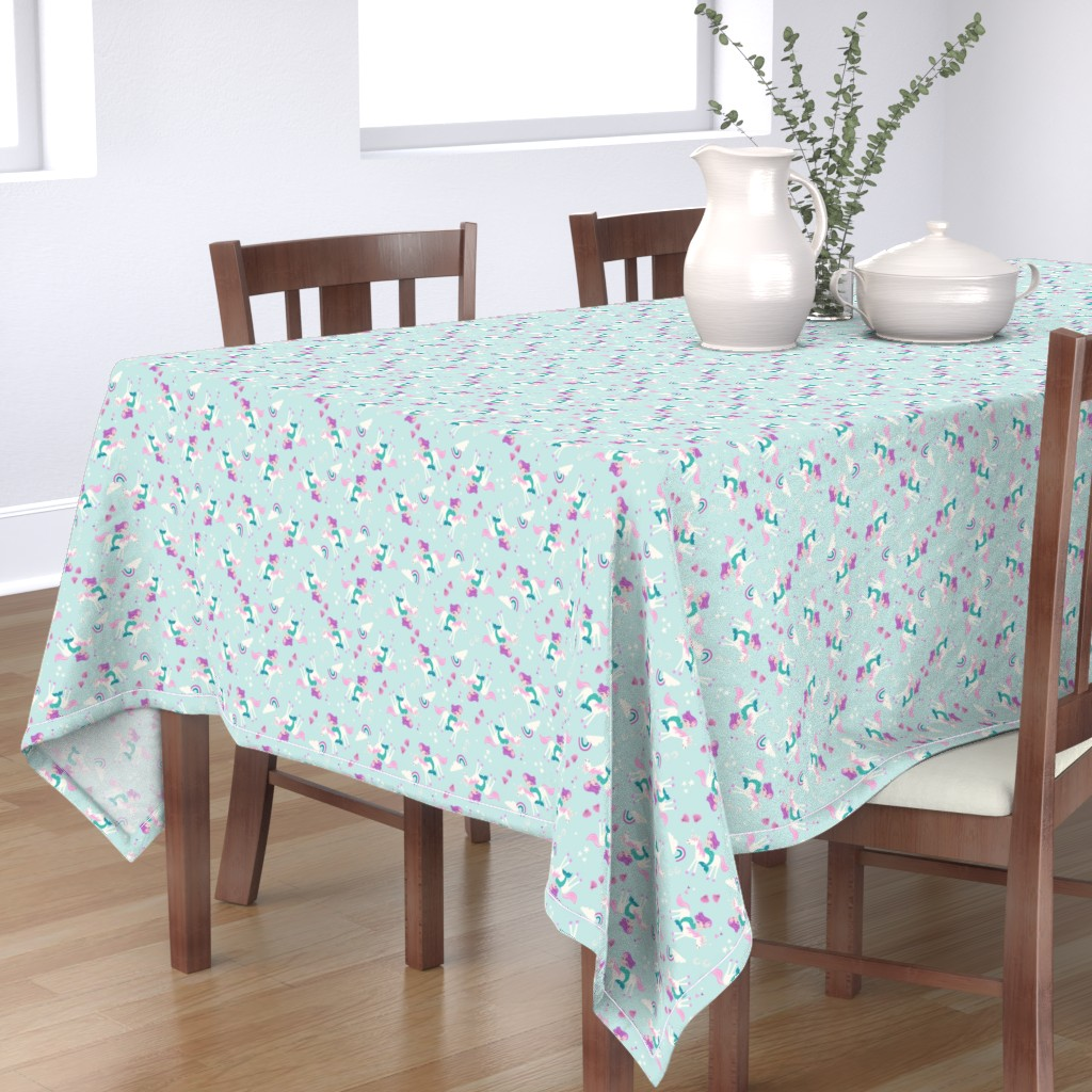 Bantam Rectangular Tablecloth featuring mermaid and unicorn by laura_may_designs