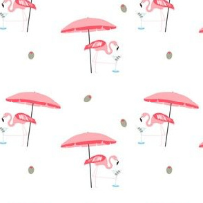 Flamingo Bird Martini || Beach Umbrella Drink Retro 50s Vintage Olive Pink Coral Blue Black _ Miss Chiff Designs