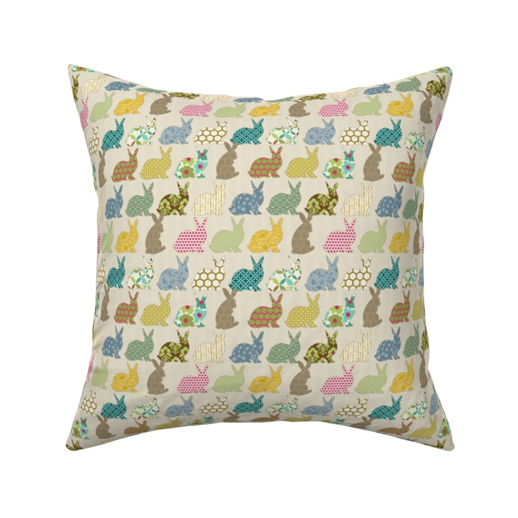 Catalan Throw Pillow featuring year of the colorful rabbit mini scale by littlerhodydesign