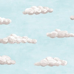painted clouds - grey on pale blue