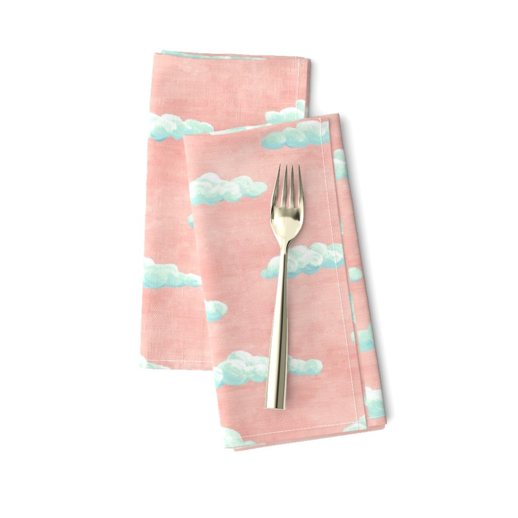 Amarela Dinner Napkins featuring painted clouds - blue and mint on coral by weavingmajor