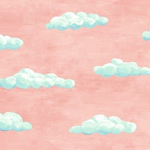 painted clouds - blue and mint on coral